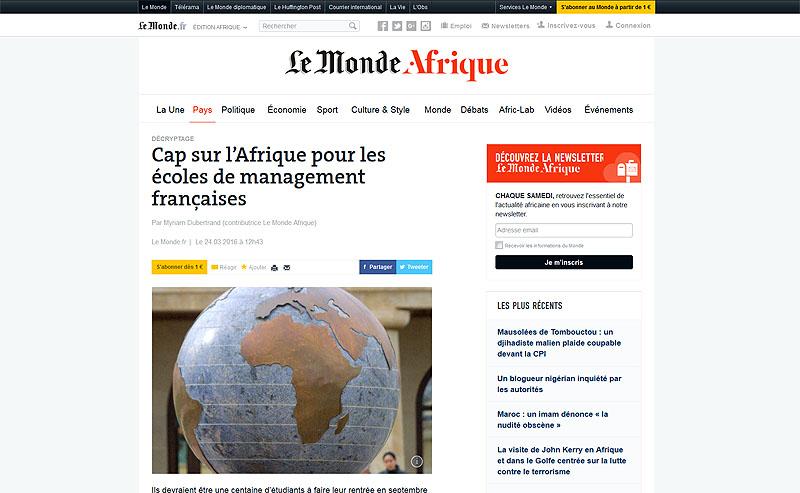 Cap sur l'Afrique pour les écoles de management françaises